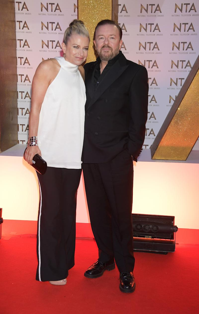 LONDON, ENGLAND - JANUARY 28: Jane Fallon and Ricky Gervais attend the National Television Awards 2020 at The O2 Arena on January 28, 2020 in London, England. (Photo by David M. Benett/Dave Benett/Getty Images)