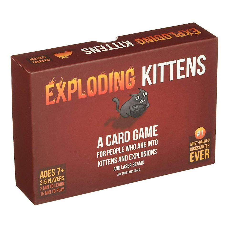 """<p><strong>Exploding Kittens LLC</strong></p><p>amazon.com</p><p><strong>$12.34</strong></p><p><a href=""""https://www.amazon.com/dp/B010TQY7A8?tag=syn-yahoo-20&ascsubtag=%5Bartid%7C2089.g.3486%5Bsrc%7Cyahoo-us"""" rel=""""nofollow noopener"""" target=""""_blank"""" data-ylk=""""slk:Shop Now"""" class=""""link rapid-noclick-resp"""">Shop Now</a></p><p>Similar to Cards Against Humanity, Exploding Kittens is the popular NSFW card game that's essentially a cat-powered version of Russian Roulette. Don't believe us? Just ask the 12,000-plus people who gave it a 4.4-star rating.</p>"""