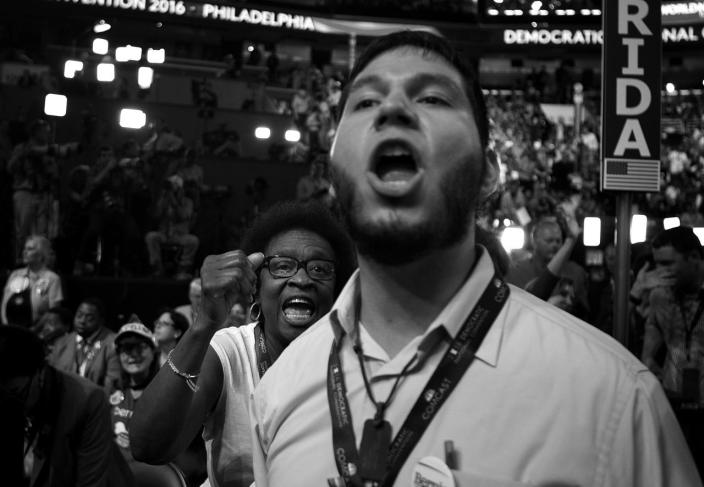 <p>Arthenia Joyner, a Florida State Senator and delegate supporting Hillary Clinton, tries to shout down a Bernie Sanders supporter at the Democratic National Convention Monday, July 25, 2016, in Philadelphia, PA. (Photo: Khue Bui for Yahoo News)</p>