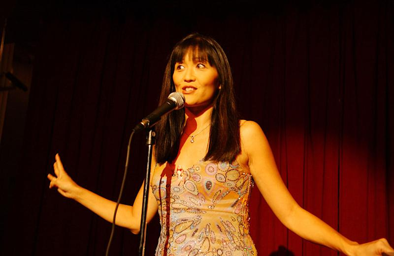 Suzanne Whang performs her stand-up at the LaFemme Film Festival at Wilshire Theatre in Beverly Hills, Calif. (Photo: Amy Graves/WireImage for Mr Henri Zimand)