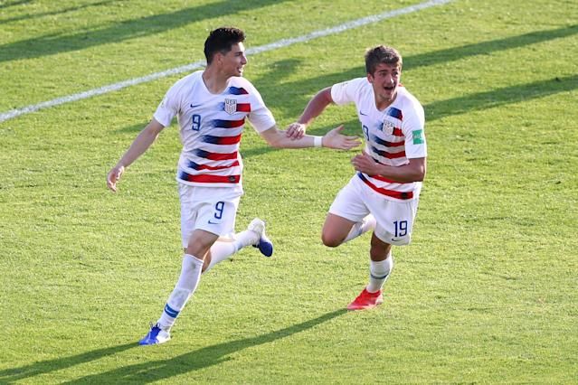 "<a class=""link rapid-noclick-resp"" href=""/soccer/players/1805831/"" data-ylk=""slk:Sebastian Soto"">Sebastian Soto</a> (left) scored twice as the U.S. under-20 men's national team came back to stun France, 3-2, on Tuesday and advance to the quarterfinals of the 2019 FIFA U-20 World Cup in Poland. (Lars Baron/Getty)"