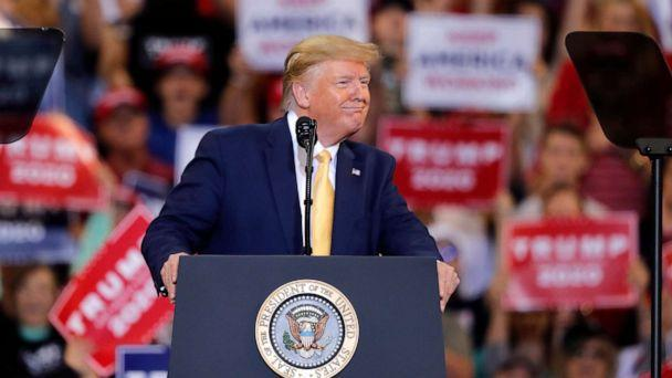 PHOTO: President Donald Trump speaks at a campaign rally in Lake Charles, La., Oct. 11, 2019. (Gerald Herbert/AP)