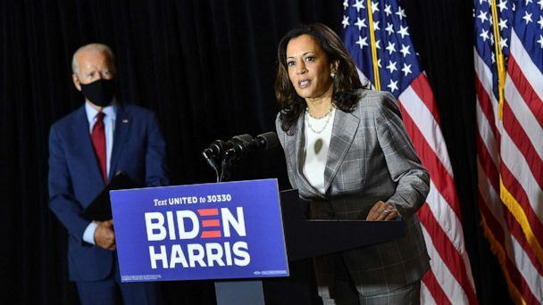 PHOTO: Democratic presidential nominee, former Vice President Joe Biden (L), and vice presidential running mate, Senator Kamala Harris, hold a press conference after receiving a briefing on COVID-19 in Wilmington, Del., Aug. 13, 2020. (Mandel Ngan/AFP via Getty Images)