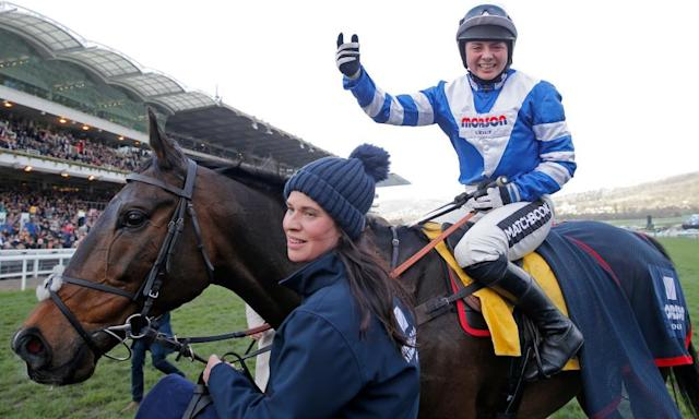 """<span class=""""element-image__caption"""">Bryony Frost celebrates victory on Frodon in the Ryanair Chase at the Cheltenham Festival.</span> <span class=""""element-image__credit"""">Photograph: Tom Jenkins/The Guardian</span>"""