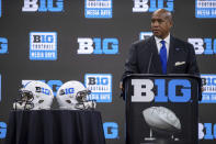 Big Ten Commissioner Kevin Warren speaks during a Big Ten football media days press conference, Thursday, July 22, 2021, at Lucas Oil Stadium in Indianapolis. (AP Photo/Doug McSchooler)