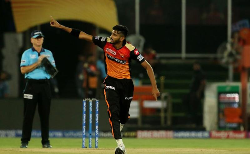 Syed Khaleel Ahmed of Sunrisers Hyderabad celebrates the wicket of Prithvi Shaw of Delhi Capitals during match 30 of the Vivo Indian Premier League Season 12, 2019 between the Sunrisers Hyderabad and the Delhi Capitals held at the Rajiv Gandhi Intl. Cricket Stadium, Hyderabad on the 14th April 2019 Photo by: Vipin Pawar /SPORTZPICS for BCCI