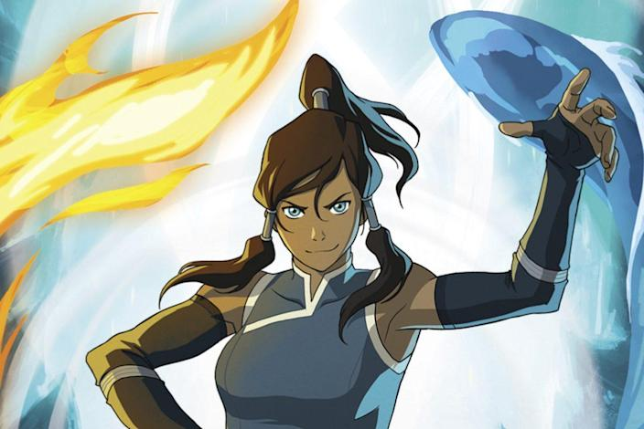 photo of korra from legend of korra with white and yellow background