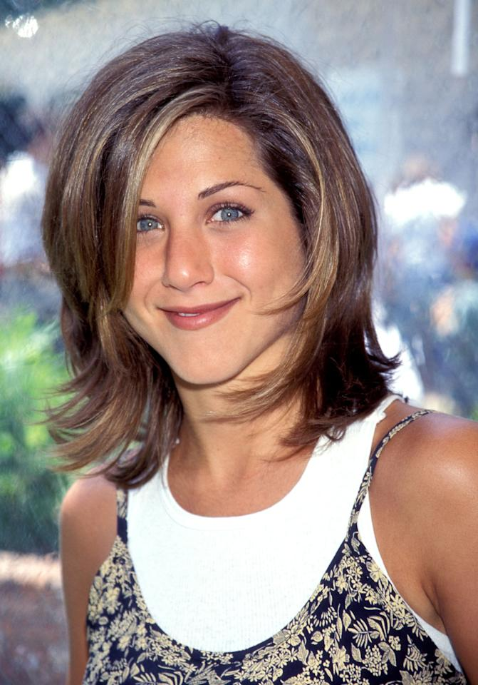 <p>In 1995, Aniston still had brown hair with a few subtle highlights.</p>