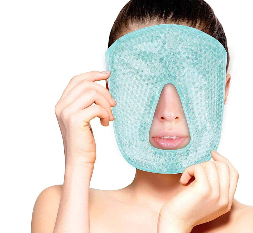 """Itcomfortably fits on your face while giving you a cool and relaxing sensation.<br /><br /><strong><a href=""""https://go.skimresources.com?id=38395X987171&xs=1&xcust=HPProductsForHotSleepers-7-2021--60c0db4be4b0b449dc34948b-&url=https%3A%2F%2Fwww.etsy.com%2Flisting%2F950989349%2Fhot-cold-full-facial-eye-mask-by-fomi"""" target=""""_blank"""" rel=""""noopener noreferrer"""">Get it from FOMI US on Etsy for $14.99.</a></strong>"""