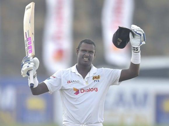 Angelo Mathews celebrates his century for Sri Lanka (Sri Lanka Cricket)