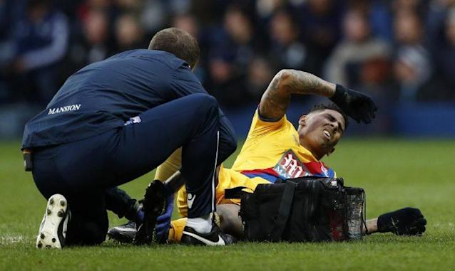 "Britain Soccer Football – West Bromwich Albion v Crystal Palace – Premier League – The Hawthorns – 4/3/17 Crystal Palace's Patrick van Aanholt receives medical attention Reuters / Peter Nicholls Livepic EDITORIAL USE ONLY. No use with unauthorized audio, video, data, fixture lists, club/league logos or ""live"" services. Online in-match use limited to 45 images, no video emulation. No use in betting, games or single club/league/player publications. Please contact your account representative for further details."