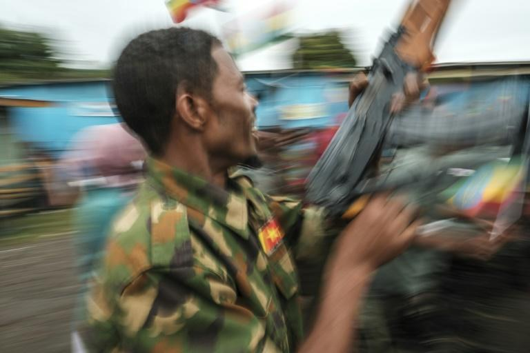 Amhara forces recruits learn how to dig trenches, use grenades and assemble a rifle