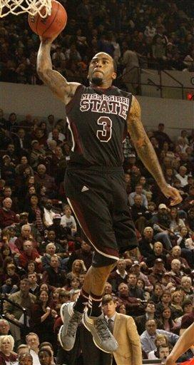 Mississippi State's Dee Bost (3) dunks during the second half their NCAA college basketball game with Mississippi in Starkville, Miss., Thursday, Feb. 9, 2012. Miss. State won 70-60. (AP Photo Jim Lytle)