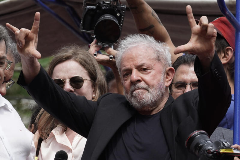 """Former Brazilian President Luiz Inacio Lula da Silva acknowledges supporters during a rally at the Metal Workers Union headquarters, in Sao Bernardo do Campo, Brazil, Saturday, Nov. 9, 2019. Da Silva addressed thousands of jubilant supporters a day after being released from prison. """"During 580 days, I prepared myself spiritually, prepared myself to not have hatred, to not have thirst for revenge,"""" the former president said. (AP Photo/Leo Correa)"""