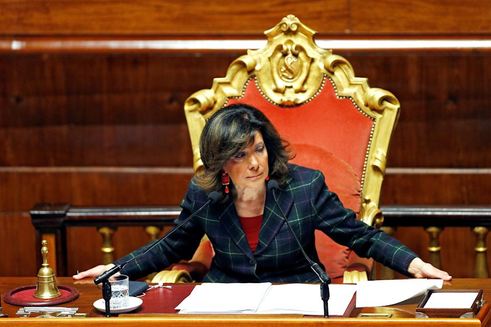 Senate President Maria Elisabetta Alberti Casellati is seen in the upper house of the Italian parliament ahead of a vote that could strip Deputy Prime Minister Matteo Salvini of the legal immunity and allow magistrates to continue investigating him for allegedly kidnapping more than 100 migrants on a coast guard ship last year, in Rome, Italy March 20, 2019. REUTERS/Yara Nardi (Photo: Yara Nardi / Reuters)