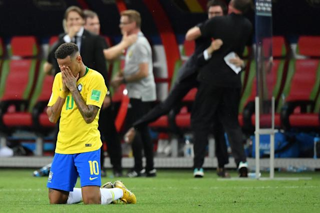 Brazil's forward Neymar reacts at the end of the Russia 2018 World Cup quarter-final football match between Brazil and Belgium at the Kazan Arena in Kazan on July 6, 2018. (Getty Images)