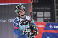 United States' Breezy Johnson celebrates at the finish area of an alpine ski, women's World Cup downhill in Crans Montana, Switzerland, Saturday, Jan. 23, 2021.(AP Photo/Marco Tacca)