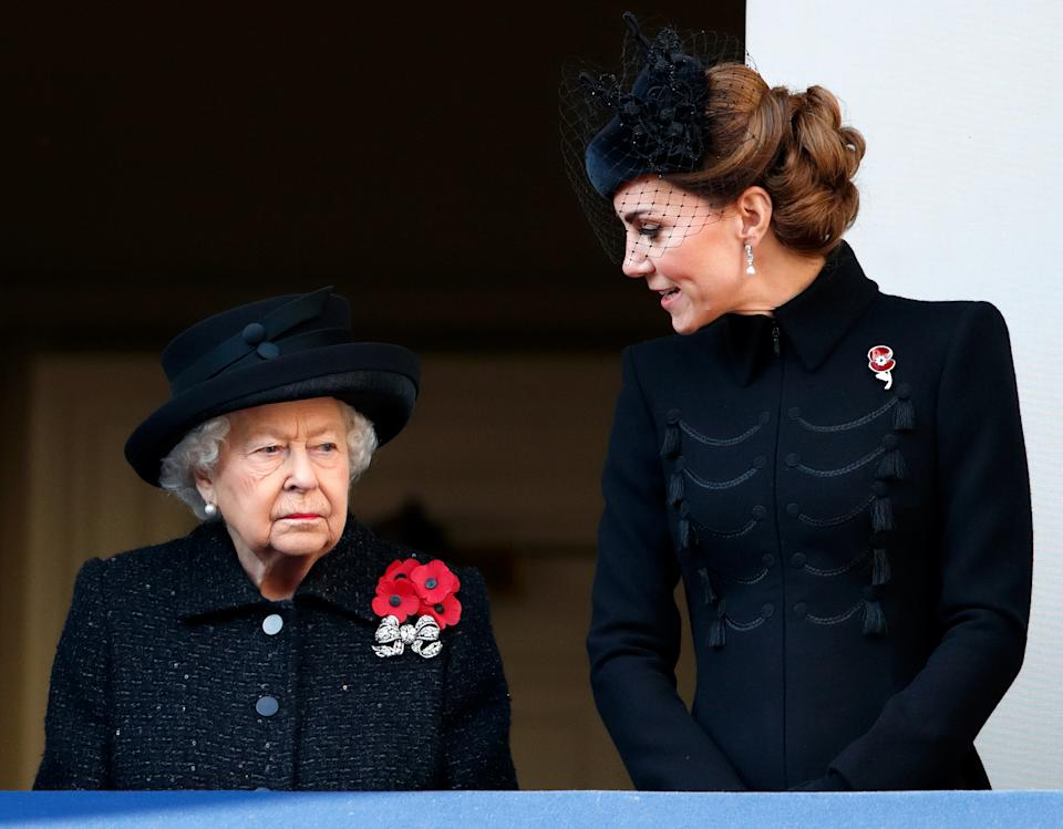 LONDON, UNITED KINGDOM - NOVEMBER 10: (EMBARGOED FOR PUBLICATION IN UK NEWSPAPERS UNTIL 24 HOURS AFTER CREATE DATE AND TIME) Queen Elizabeth II and Catherine, Duchess of Cambridge attend the annual Remembrance Sunday service at The Cenotaph on November 10, 2019 in London, England. The armistice ending the First World War between the Allies and Germany was signed at Compiegne, France on eleventh hour of the eleventh day of the eleventh month - 11am on the 11th November 1918. (Photo by Max Mumby/Indigo/Getty Images)