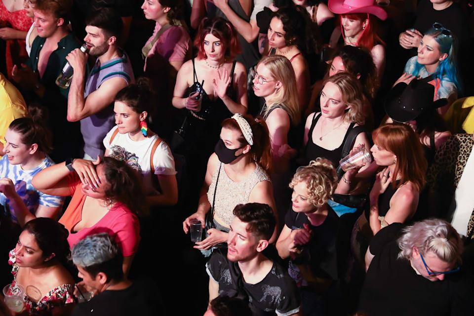 Hundreds gather at an inside theatre production in London on Monday. Source: Getty