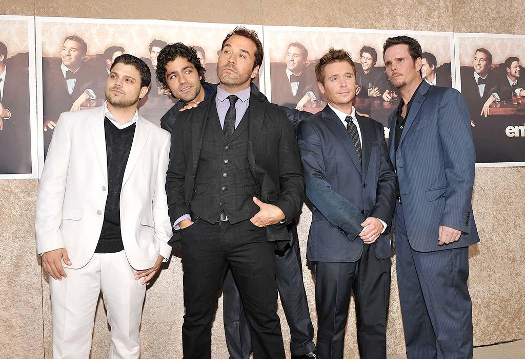 "The men of ""Entourage"" (Jerry Ferrara, Adrian Grenier, Jeremy Piven, Kevin Connolly, and Kevin Dillon) suited up for the premiere of the HBO show's sixth season. John Shearer/<a href=""http://www.wireimage.com"" target=""new"">WireImage.com</a> - July 9, 2009"