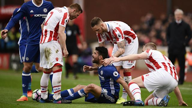 Mark Hughes has slammed Diego Costa for his behaviour on the pitch during Chelsea's win over Stoke City.