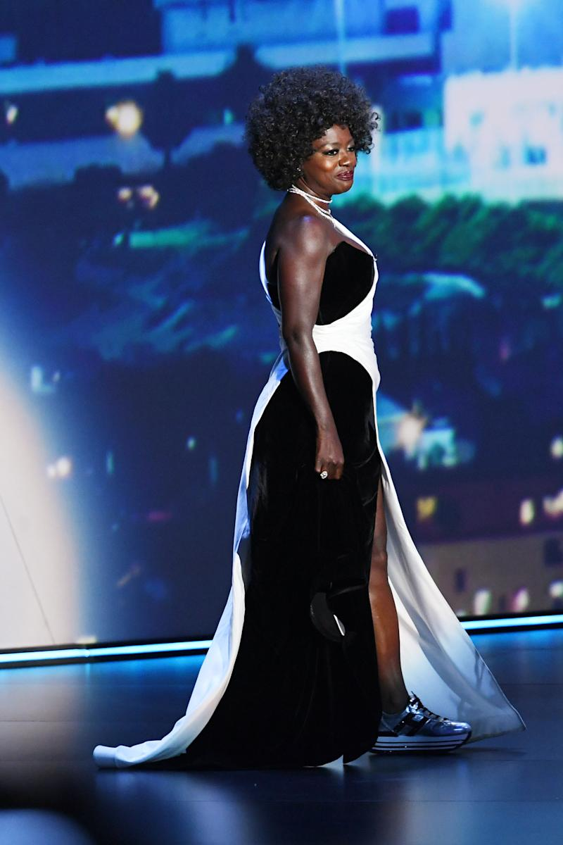 LOS ANGELES, CALIFORNIA - SEPTEMBER 22: Viola Davis speaks onstage during the 71st Emmy Awards at Microsoft Theater on September 22, 2019 in Los Angeles, California. (Photo by Kevin Winter/Getty Images)