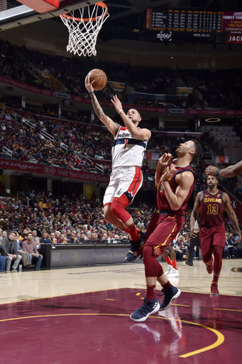 CLEVELAND, OH - DECEMBER 8: Austin Rivers #1 of the Washington Wizards shoots the ball against the Cleveland Cavaliers on December 8, 2018 at Quicken Loans Arena in Cleveland, Ohio. (Photo by David Liam Kyle/NBAE via Getty Images)