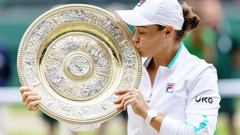 Ash Barty, pictured here with the Venus Rosewater Dish after winning Wimbledon.