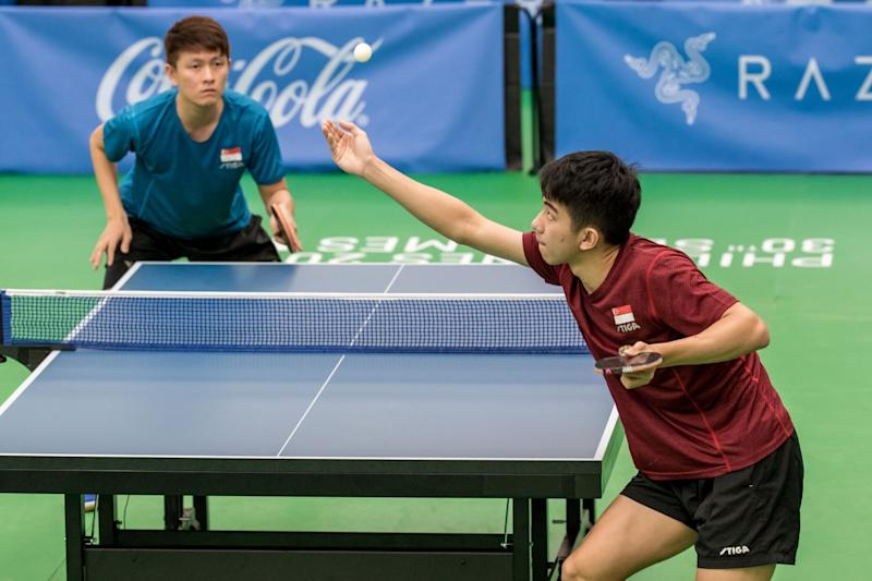 Singapore paddler Koen Pang serving during the SEA Games men's singles final against compatriot Clarence Chew. (PHOTO: Sport Singapore)