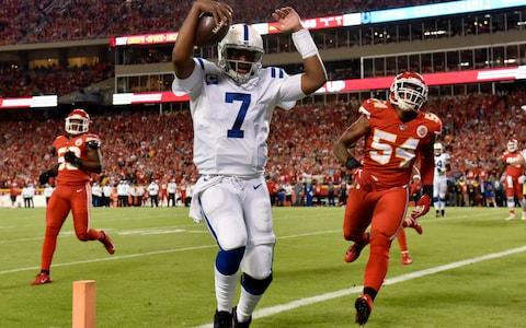 <span>Jacoby Brissett runs for a touchdown against the Chiefs</span> <span>Credit: AP </span>