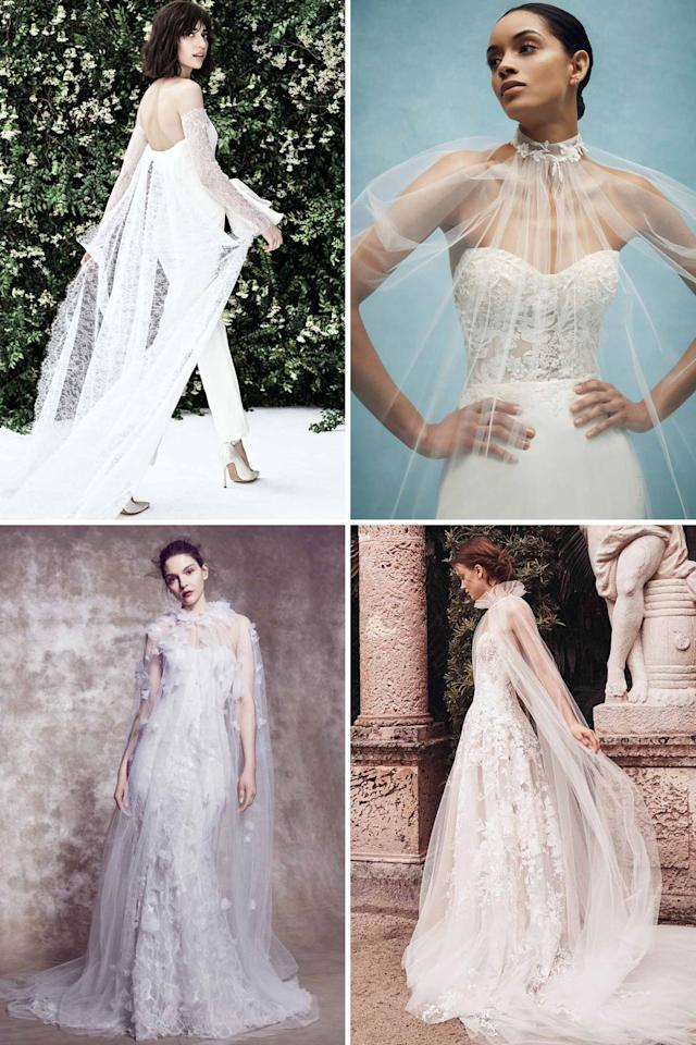 """<p>Sheer tulle in the form of a cape, rather than a veil, is the cool bride's way to greet her groom down the aisle. This traditional layering piece can be worn in a multitude of ways, but we're loving it attached to the watteau and the wrists of a jumpsuit, a la Carolina Herrera's latest lace version. </p><p>Mock-necked capes adorned with lace were all over the new collections, especially those that added a subtle layer for more coverage, and made for a striking silhouette that emphasized the gown underneath. Opt for this look if you have a flair for the dramatic, but are looking to highlight the enviable figure you've been hard at work on ever since you got engaged.</p><p><em>Clockwise from left: <a href=""""https://www.carolinaherrera.com/"""" target=""""_blank"""">Carolina Herrera</a>, <a href=""""https://www.annebarge.com/"""" target=""""_blank"""">Anne Barge</a>, <a href=""""https://www.marchesa.com/"""" target=""""_blank"""">Marchesa</a>, and <a href=""""https://moniquelhuillier.com/"""" target=""""_blank"""">Monique Lhuillier</a> Spring 2020 Bridal</em></p>"""