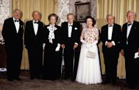 <p>Prime Minister Margaret Thatcher and five former Prime Ministers, James Callaghan, Lord Home, Lord Stockton, Lord Wilson and Edward Heath, attend a dinner at 10 Downing Street celebrating the 250th anniversary of the residence becoming the London home of Prime Ministers. (PA Archive) </p>