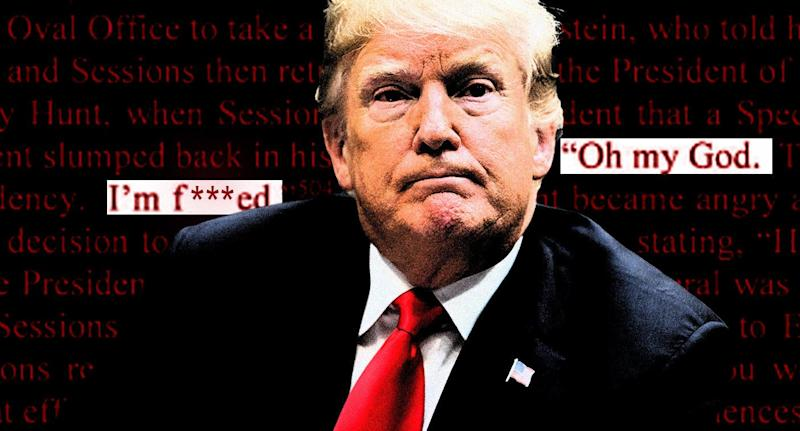 Donald Trump and a portion of the Mueller report (edited for language by Yahoo News). (Photo illustration: Yahoo News; photo: AP)