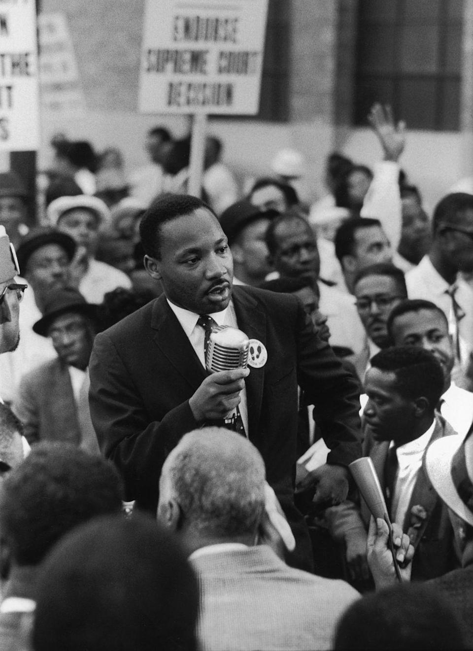 """<p>Civil Rights leader Martin Luther King Jr. became a member of the Alpha Phi Alpha fraternity when he was studying at Boston University. King kept a close connection with the institution and <a href=""""https://kinginstitute.stanford.edu/encyclopedia/alpha-phi-alpha-fraternity"""" rel=""""nofollow noopener"""" target=""""_blank"""" data-ylk=""""slk:spoke at many of the nation's chapter organizations"""" class=""""link rapid-noclick-resp"""">spoke at many of the nation's chapter organizations</a> during his civil rights movement in the '60s. </p>"""