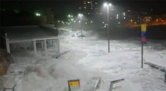 White wash engulfed businesses and walkways in Cronulla. Photo: 7 News