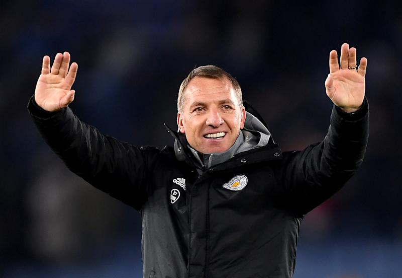 Brendan Rodgers celebrates after Leicester City's win over Everton FC. (Credit: Getty Images)