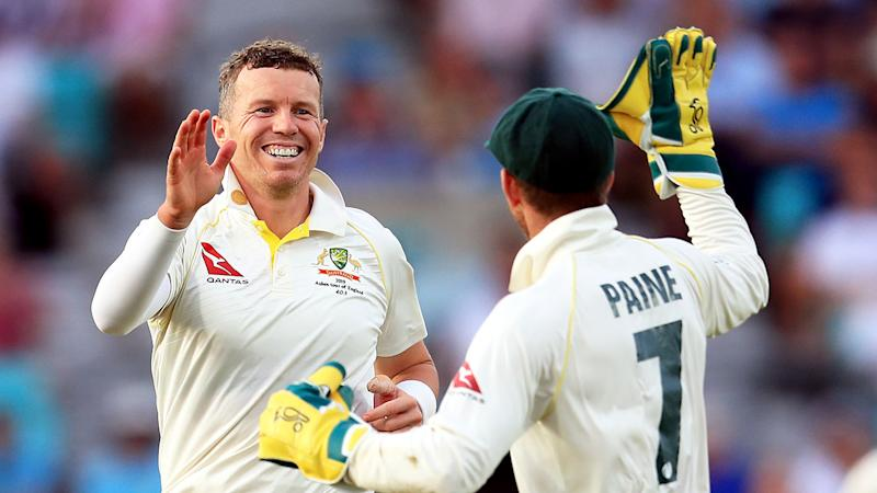 Seen here, Peter Siddle celebrates with Tim Paine after a wicket during the 2019 Ashes series.