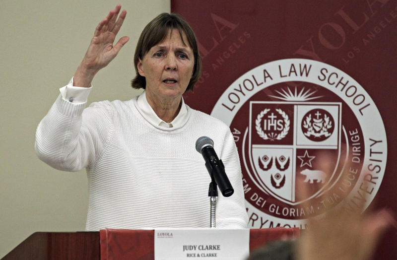 "Judy Clarke, a defense lawyer whose high-profile clients include ""Unabomber"" Ted Kaczynski, Olympic bomber Eric Rudolph, and Tucson shooter Jared Lee Loughner, speaks at Loyola Law School in Los Angeles Friday, April 26, 2013. Clarke's mission is to save the lives of people she feels are mentally ill. She tries to negotiate life sentences for them and often succeeds. (AP Photo/Reed Saxon)"