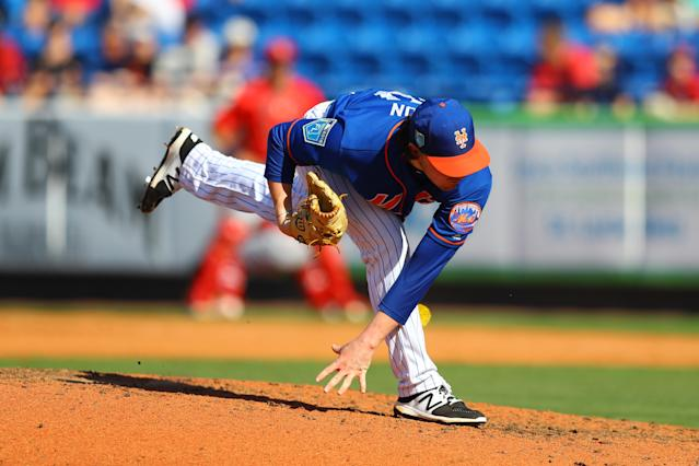 <p>New York Mets pitcher P.J. Conlon (80) follows throw on a pitch in the sixth inning of a baseball game against the St. Louis Cardinals at First Data Field in Port St. Lucie, Fla., Feb. 24, 2018. (Photo: Gordon Donovan/Yahoo News) </p>