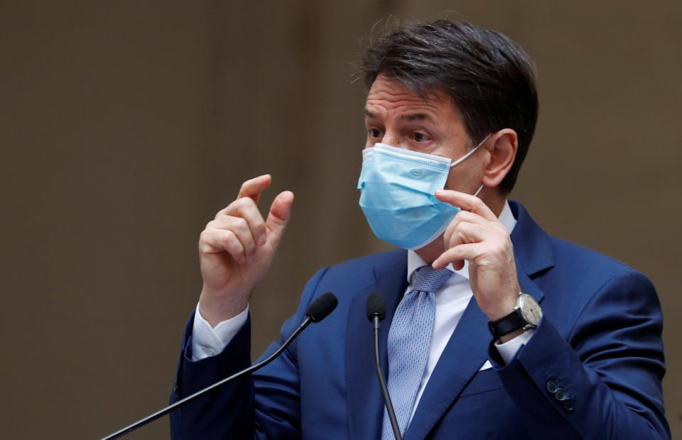 Italian Prime Minister Giuseppe Conte wearing a protective face mask gestures as he speaks during a news conference on government's new anti-COVID-19 measures, as the outbreak of the coronavirus disease (COVID-19) continues, at Chigi Palace in Rome, Italy October 25, 2020. REUTERS/Yara Nardi (Photo: Yara Nardi / Reuters)
