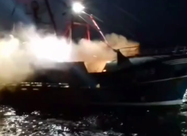 <em>Rocks, smoke bombs and other projectiles are reported to have been hurled at English and Scottish vessels during the confrontation (Screengrab)</em>