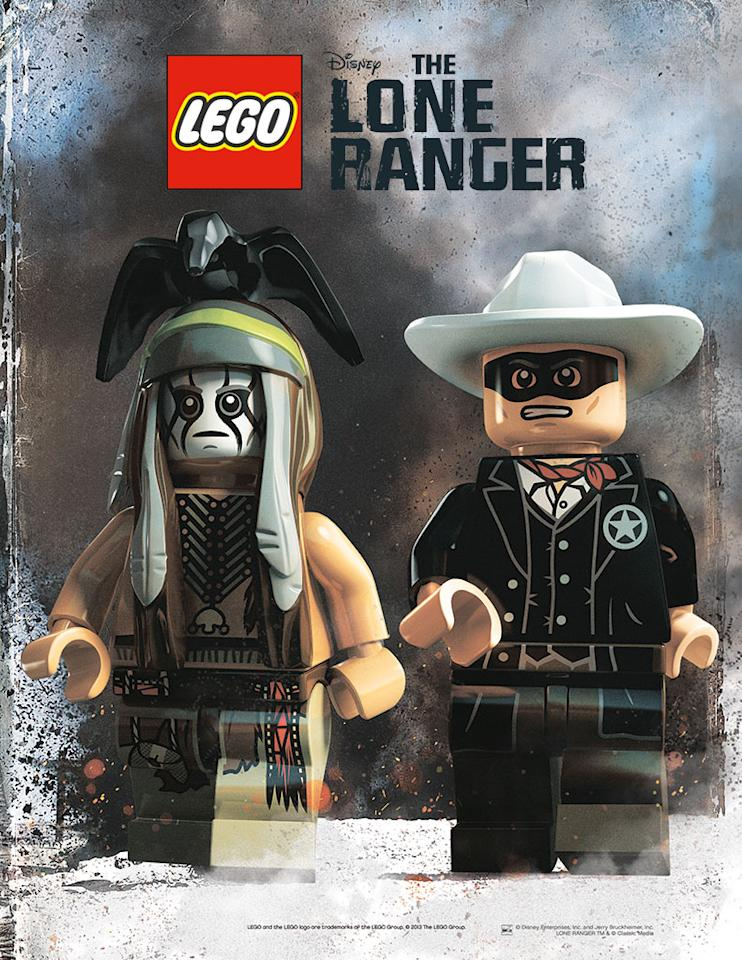 """Johnny Depp and Armie Hammer get Lego-ized in this new poster for Walt Disney Pictures' """"The Lone Ranger"""" - 2013"""