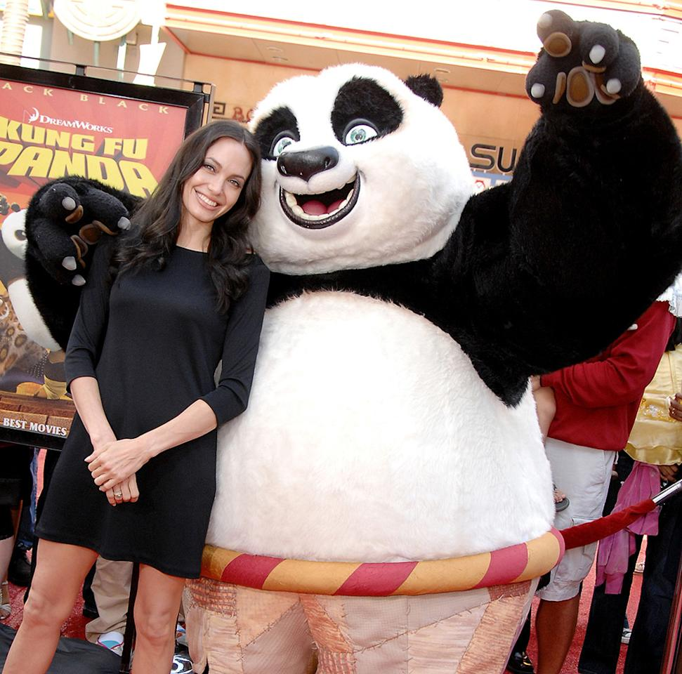 """<a href=""""http://movies.yahoo.com/movie/contributor/1800019275"""">Angelina Jolie</a> at the DVD release party for <a href=""""http://movies.yahoo.com/movie/1809826133/info"""">Kung Fu Panda</a> - 11/09/2008"""