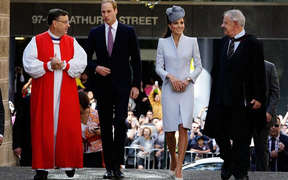 The Duke and Duchess of Cambridge at St Andrew's cathedral. Sydney - Getty