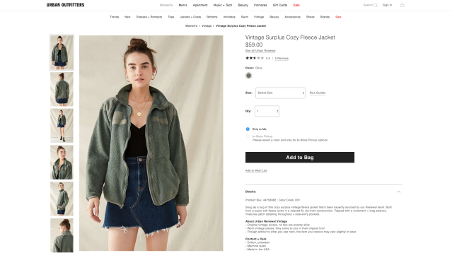 Vintage Surplus Cozy Fleece Jacket, $59. (Photo: Urban Outfitters)