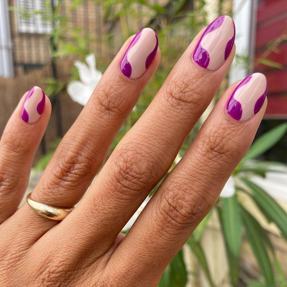 "For a pop of color that doesn't scream ""summer,"" try a pretty plum. Channel everyone's favorite <a href=""https://twitter.com/jacquenergy/status/1294035245227036675"" rel=""nofollow noopener"" target=""_blank"" data-ylk=""slk:Instagram mirror"" class=""link rapid-noclick-resp"">Instagram mirror</a> with '70s swirls."