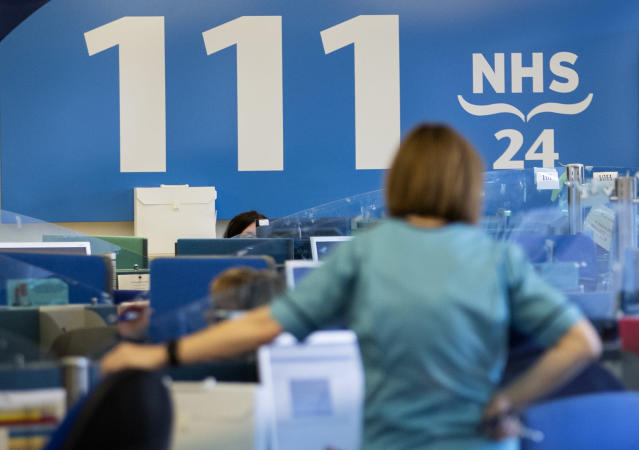 A file image of an NHS 111 centre in Glasgow as the UK coronavirus death toll jumped to 104. (PA)