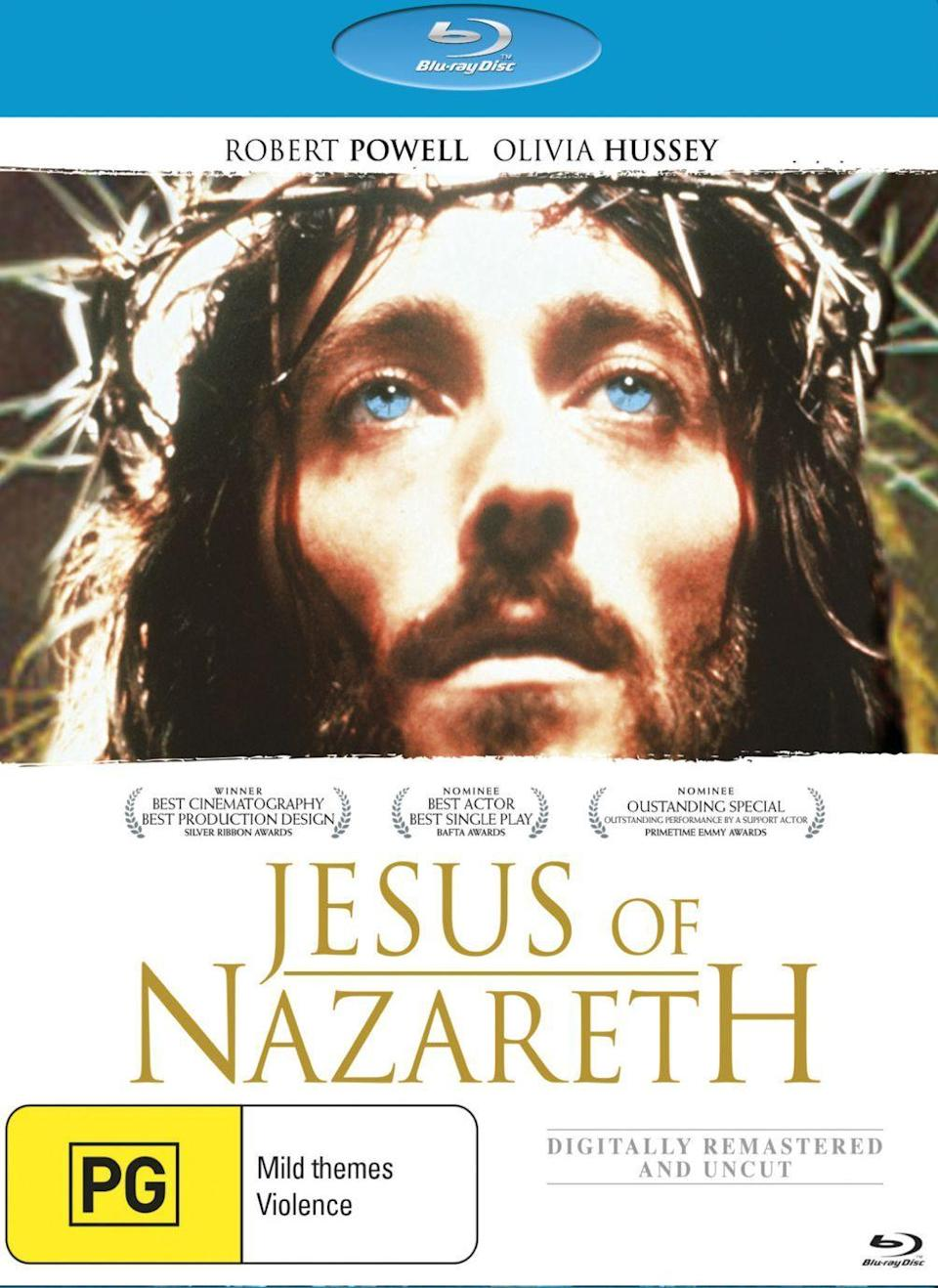 """<p>The award-winning TV miniseries, starring Robert Powell and Olivia Hussey, with a cameo by Laurence Olivier (Nicodemus), is one the most popular film adaptations of the Easter story. It's worth noting that the movie is rated PG for mild depictions of violence and may not be suitable for young children. </p><p><a class=""""link rapid-noclick-resp"""" href=""""https://www.amazon.com/Jesus-Nazareth-Robert-Powell/dp/B075B2G56S?tag=syn-yahoo-20&ascsubtag=%5Bartid%7C10050.g.15928562%5Bsrc%7Cyahoo-us"""" rel=""""nofollow noopener"""" target=""""_blank"""" data-ylk=""""slk:STREAM NOW"""">STREAM NOW</a></p>"""