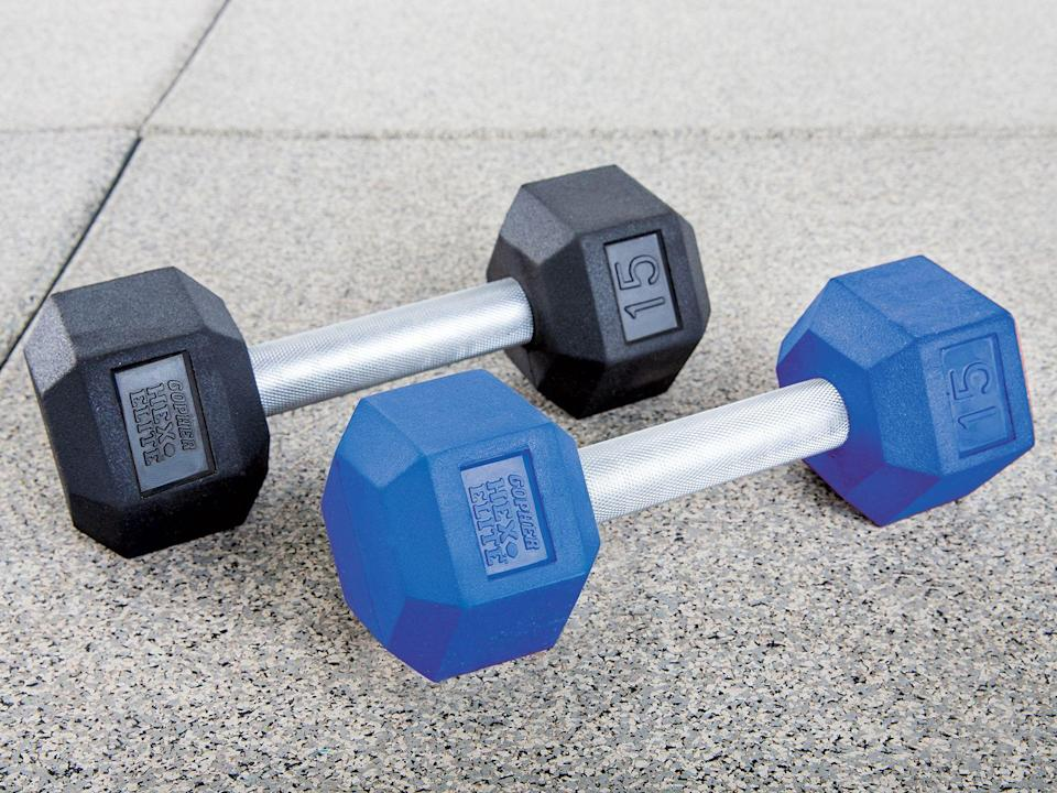 """<p>gophersport.com</p><p><strong>$8.95</strong></p><p><a href=""""https://www.gophersport.com/fitness/dumbbells/hexeite-rubber-coated"""" rel=""""nofollow noopener"""" target=""""_blank"""" data-ylk=""""slk:Shop Now"""" class=""""link rapid-noclick-resp"""">Shop Now</a></p><p>These rubber-incased hex dumbbells are sold individually, FYI. But they're great for <a href=""""https://www.womenshealthmag.com/upper-body-workouts/"""" rel=""""nofollow noopener"""" target=""""_blank"""" data-ylk=""""slk:upper-body workouts"""" class=""""link rapid-noclick-resp"""">upper-body workouts</a> and will make your home gym feel legit. And the best part? The weight range is huge. You shop from 2.5 to 100 pounds. </p><p><strong>Reviewer Rave:</strong> """"Got my 5-lb. set the other day and they are great! Perfect for my at-home workouts."""" <em>–Rebecca L., <a href=""""https://www.gophersport.com/fitness/dumbbells/hexeite-rubber-coated#reviews-tab"""" rel=""""nofollow noopener"""" target=""""_blank"""" data-ylk=""""slk:gophersport.com"""" class=""""link rapid-noclick-resp"""">gophersport.com</a></em></p>"""