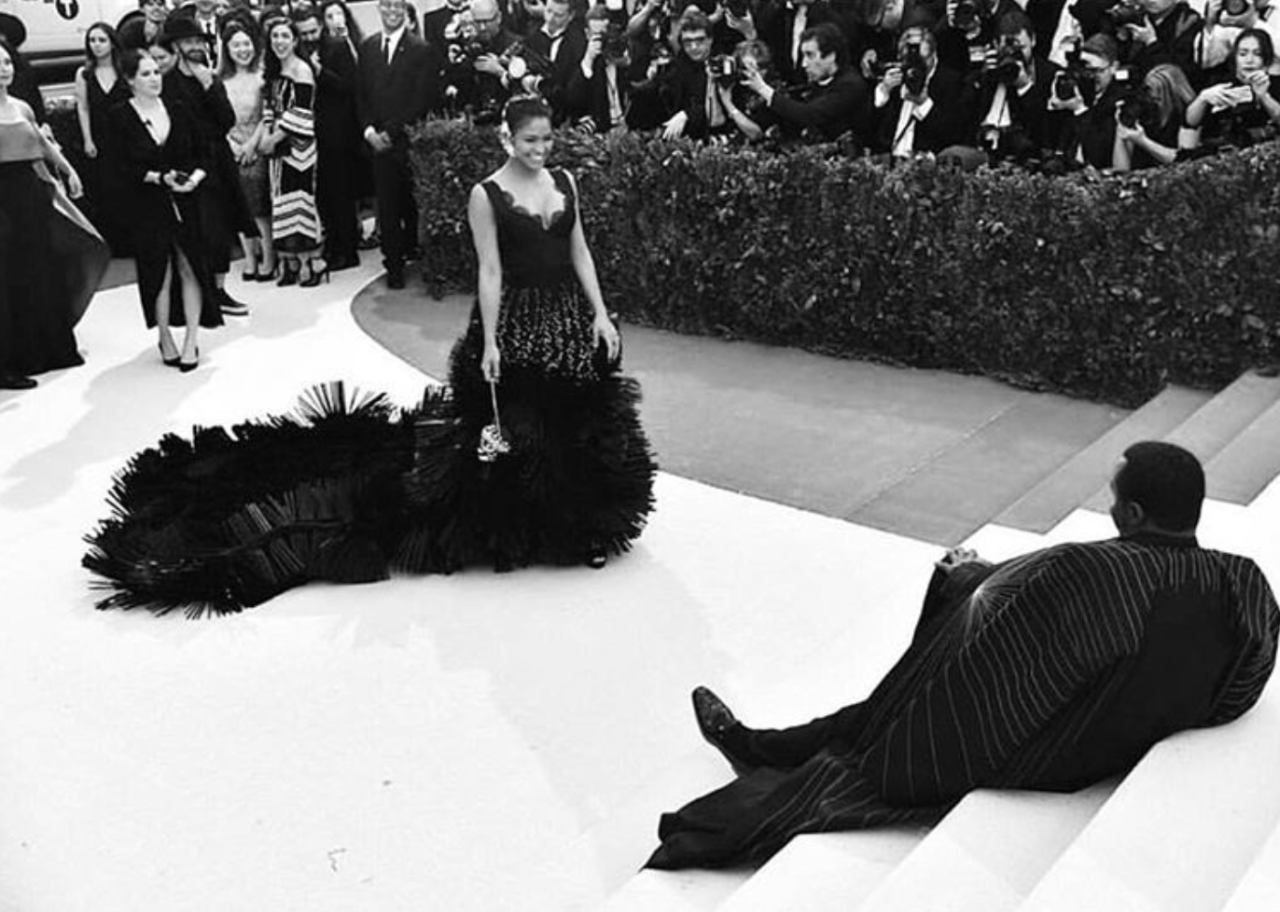 """<p>P Diddy decided to have a little sit down on the red carpet whilst his girlfriend Cassie posed for photographers. He captioned the snap, """"she made me fall on stairs! And I love it."""" [Photo: P Diddy/ Instagram] </p>"""